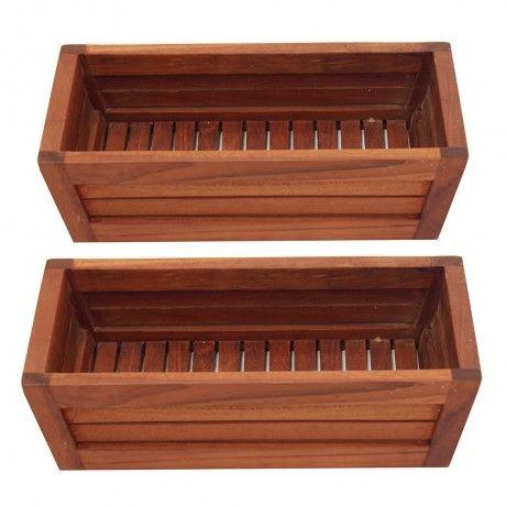 Set of 2 Teak Amenity Trays