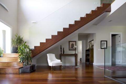 Contemporary Entry with clear glass stair railing