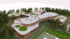 'four leaf clover kindergarten' is a design proposal by slovenian firm OFIS architects. each leaf represents one department with associated facilities. the entrance leads to the central part with the common areas, which are positioned and distributed in three floors: a ground floor with the main entrance and outdoor central common playgrounds for additional activities, the first floor with administration/offices and underground level with kitchen, services and technical areas.