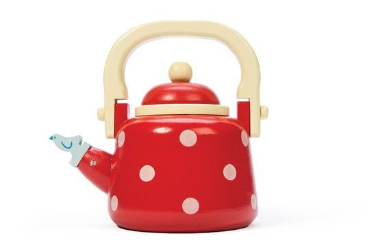 Le Toy Van Dotty Kettle Brew the coffee and brew the tea. In the morning, for you and me. This red and white spotted kettle, with an opening and closing lid, is a fun way to start the perfect day. Brew a cup of coffee or a pot of tea and enjoy the morning sunshine. Made of ethically sourced wood and non-toxic paint, this quality wooden toy is designed to last for many years. Made of ethically sourced wood and non-toxic paint, this quality wooden toy is designed to last for many years.