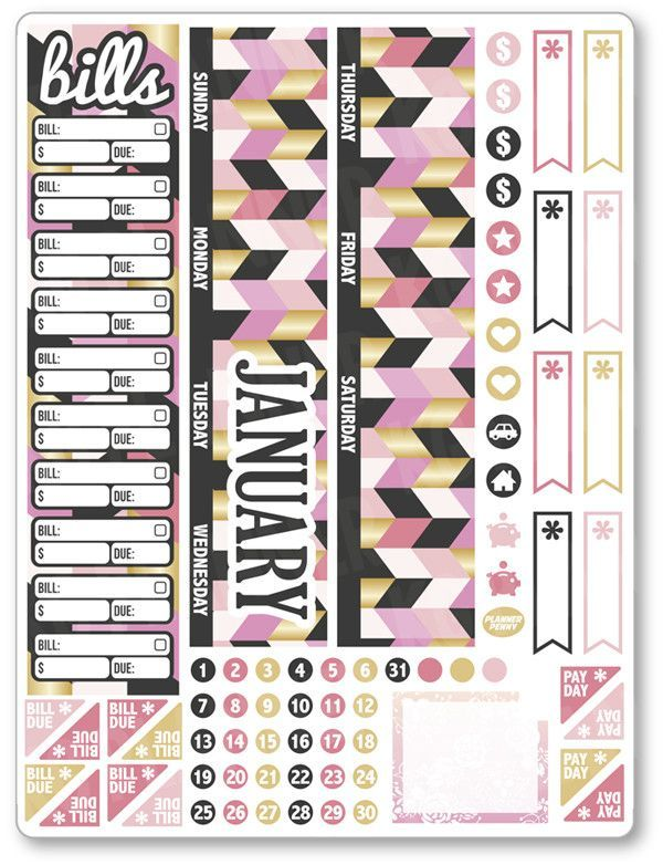 JAN Monthly View ... added to the shop! View/purchase at http://www.plannerpenny.com/products/jan-monthly-view-pink-and-gold-planner-stickers?utm_campaign=social_autopilot&utm_source=pin&utm_medium=pin
