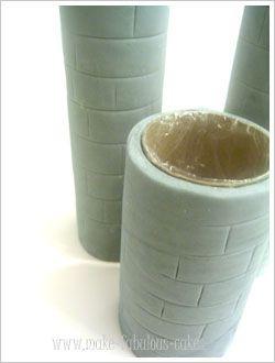 Castle Turrets....empty ppr towl rolls/covered in plasticwrap!