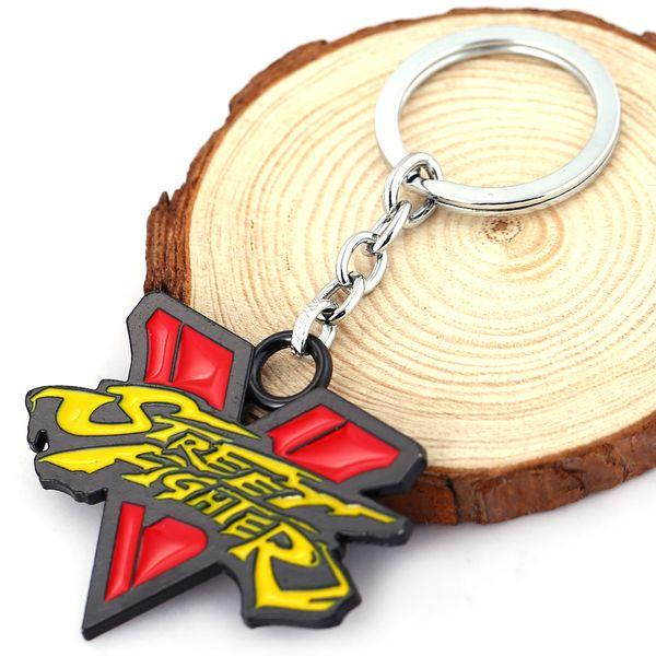 Street Fighter 5 Красный Желтый Логотип Металл брелок РЮ КЕН ЧУН ЛИ Чарли КОВАРСТВО Подвеска Брелок Chaveiro Брелок DJ56