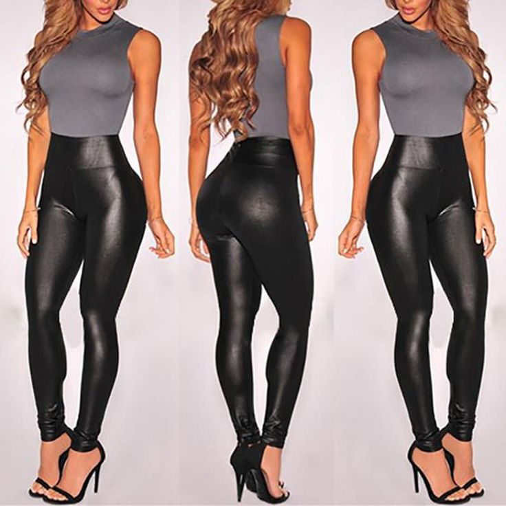 women 39 s high waisted faux leather leggings stretch pants. Black Bedroom Furniture Sets. Home Design Ideas