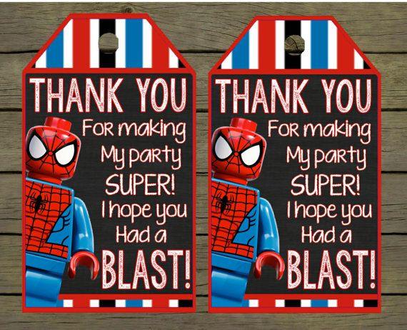 Lego Spiderman Digital thankyou - thank you card - tag Birthday Digital File; You Print - DIY - printable