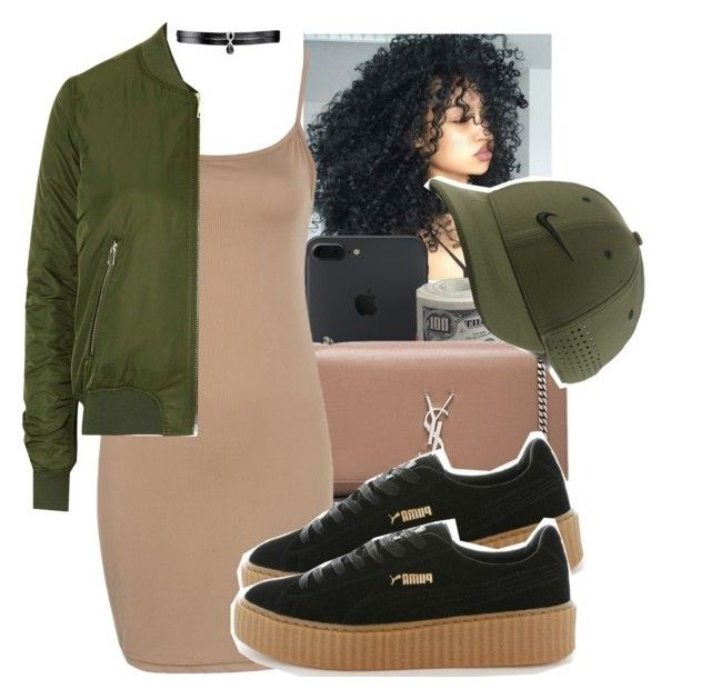 """Pumas Outfit 2"" by iamahappygoddess ❤ liked on Polyvore featuring Yves Saint Laurent, WithChic, Puma, Topshop, NIKE, Fallon and pumas"