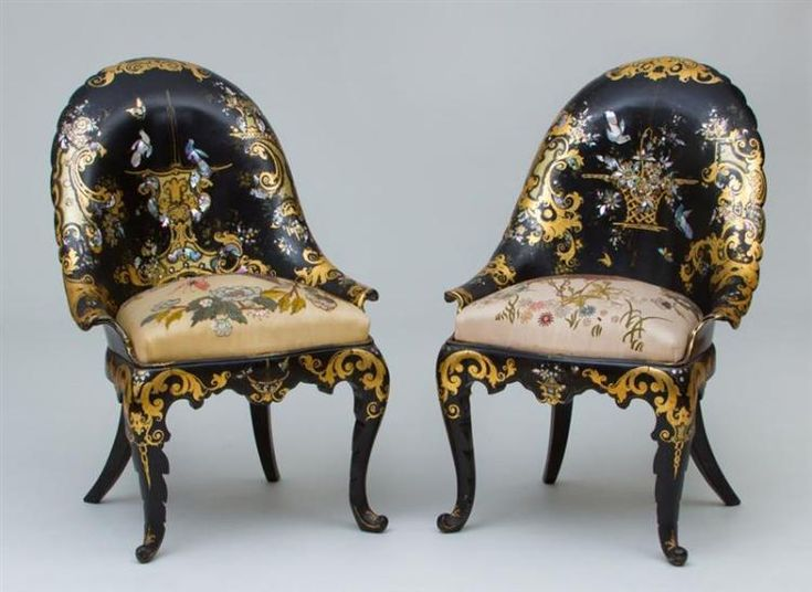 PAIR OF FINE VICTORIAN BLACK LACQUER, PARCEL GILT AND MOTHER OF PEARL. Slipper  ChairsAuctionVictorianFurniturePaper ...