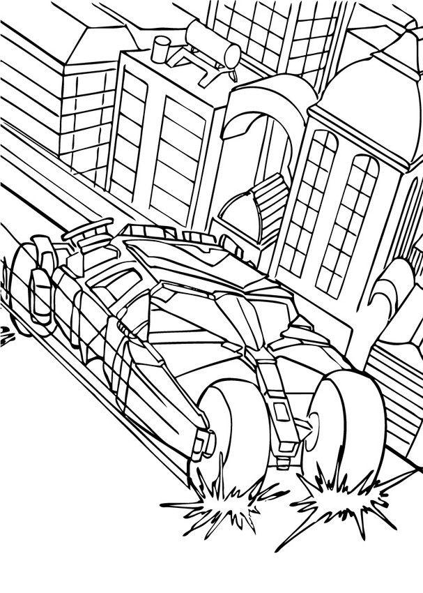 Batman S Car In The City Coloring Page Free Printable Batman