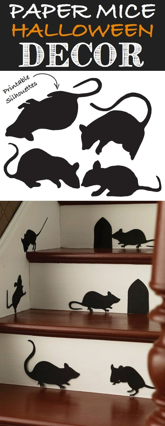 Mice Silhouettes Place these little critters running along your baseboards, adorning your staircase, and running up the walls! Just black pa...