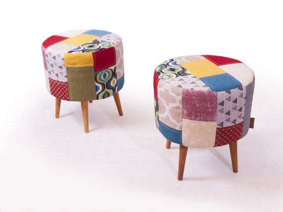 Original set  pouf footstool ottoman and two cushions
