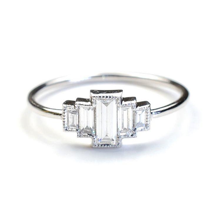 nixin art deco diamond engagement ring