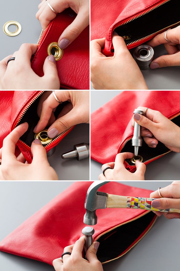 Add grommets to a leather clutch—so easy!