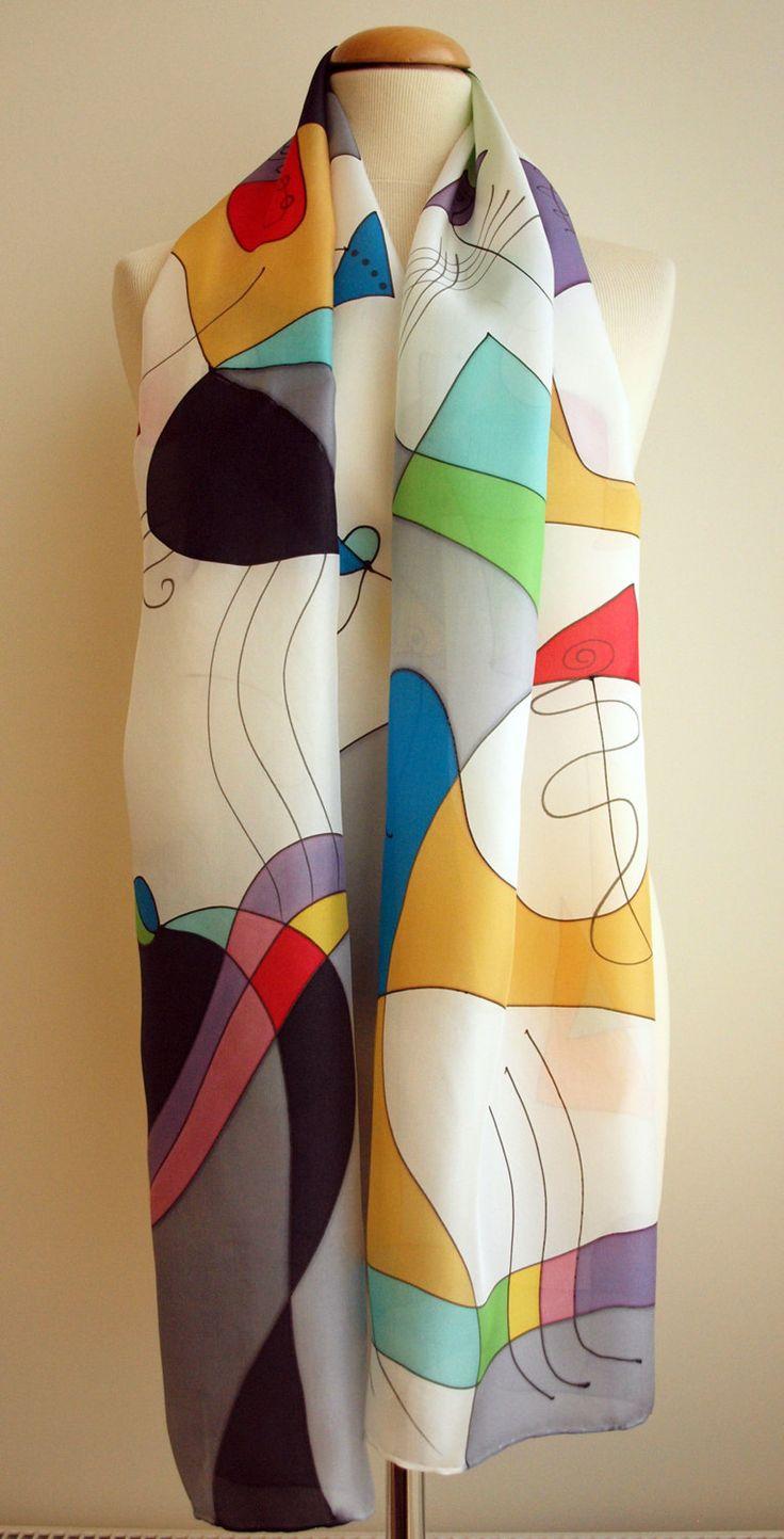 Handpainted Silk Scarf. Kandinsky Style Silk Scarf.Hand painted Silk Shawl.Wedding. Bridesmaids.Giveaways. Silk Art.Woman. 18x71in(180x45cm) de gilbea en Etsy