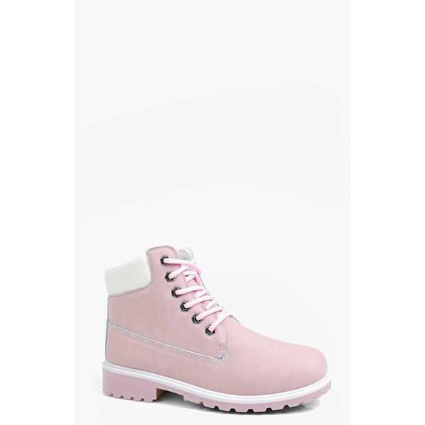 Boohoo Katie Lace Up Hiker Boot (£23) ❤ liked on Polyvore featuring shoes, boots, pink, pink shoes, front lace up boots, laced shoes, laced up shoes and laced up boots