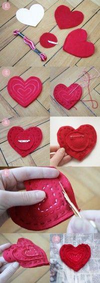 Spilla in feltro fai da te - Il procedimento per realizzare in casa una curiosa e originale spilla a forma di cuore: un'idea curiosa da regalare alle amiche a Natale.