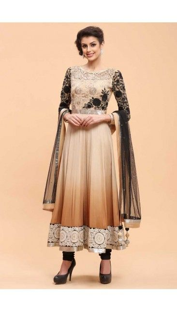 Beige and Coffee Crepe Anarkali Churidar Suit - 1702
