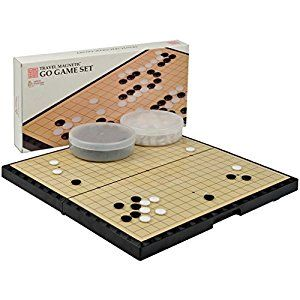 """(affiliate) Magnetic Go Game Board w/ Single Convex Plastic Stones Set - Portable and Travel Ready - 14.7"""" x 14.6"""" x 1.1"""""""