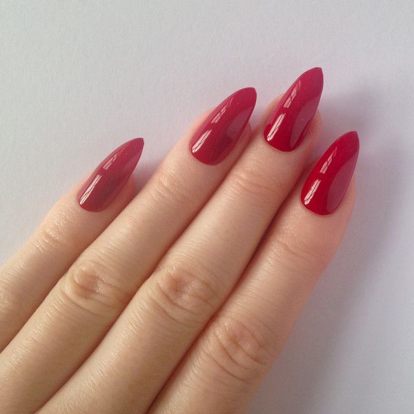 Red Stiletto nails, Fake nails, Stiletto nails, Press on stiletto... ($17) ❤ liked on Polyvore