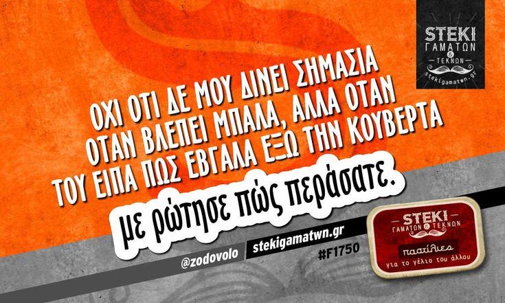 Όχι ότι δε μου δίνει σημασία όταν βλέπει μπάλα, αλλά @zodovolo - http://stekigamatwn.gr/f1750/