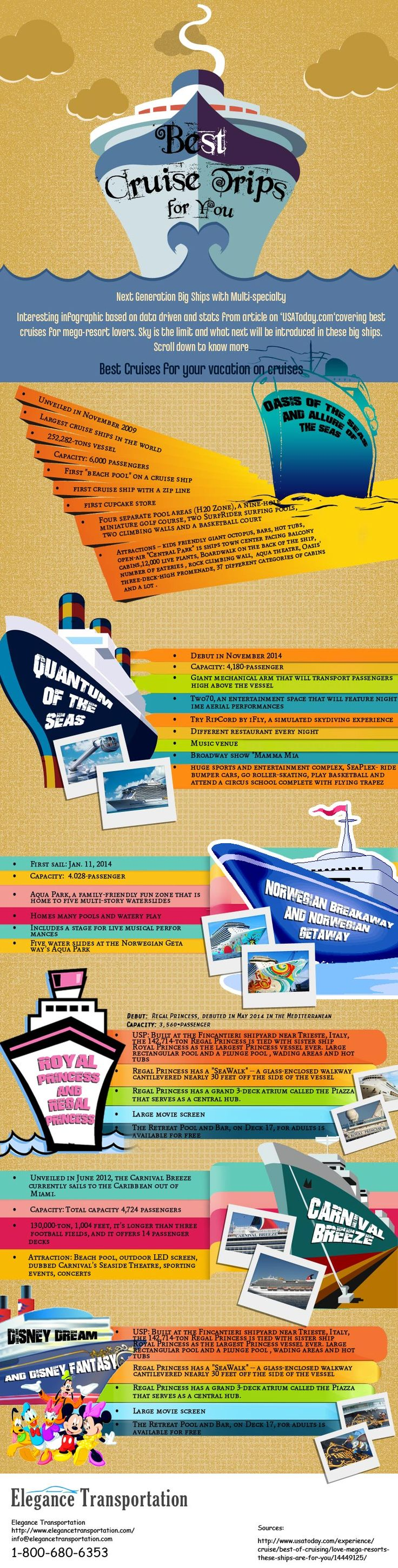 For the cruise terminal transportation book online a limo. The infograph is about best cruises in World
