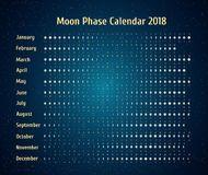 Calendario Astrologico Do Vetor Para 2018 Moon O Calendario Da Fase No Ceu Estrelado Da Noite Calendario Lunar Criativo Co Ilustracoes Calendario Lunar Vetores