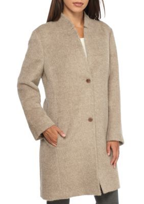 Eileen Fisher Women's Drapey Suri Alpaca Notch Collar Long Coat - Almond - Xl