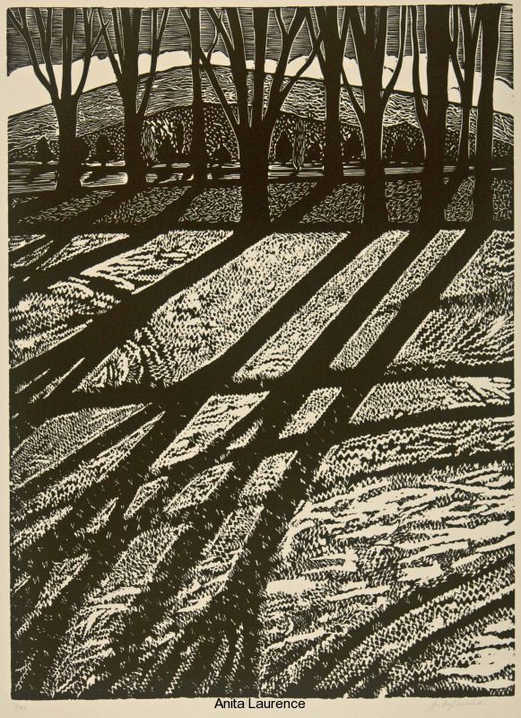 'Winter I' by Australian artist & printmaker Anita Laurence (b.1963). Linocut, edition of 40, 57 x 42 cm. via the artist's site