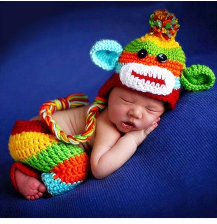 2016 Новорожденных фотография опоры Детские Cap младенческая вязать крючком костюм мягкие наряды эльф кнопка шапка + брюки младенца Hat купить на AliExpress