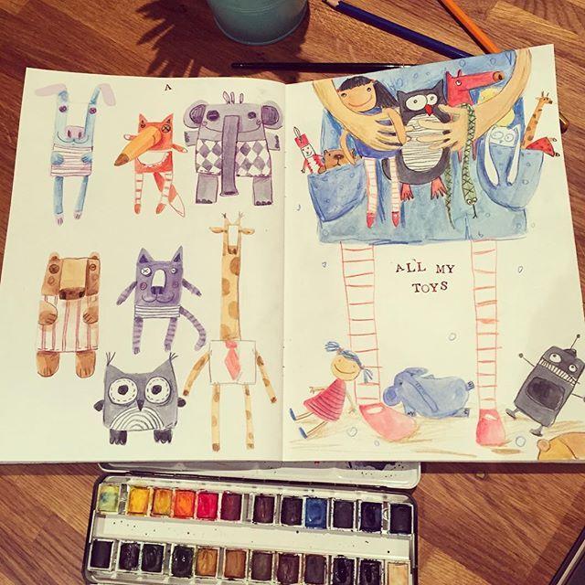 Day 8 - toys. день 8 - игрушки. Слева - игрушки полушки типа, а справа - и так понятно. Акварель и цветные карандаши #денькрокодила #иллюстрация #рисунок #игрушки #art #drawing #illustration