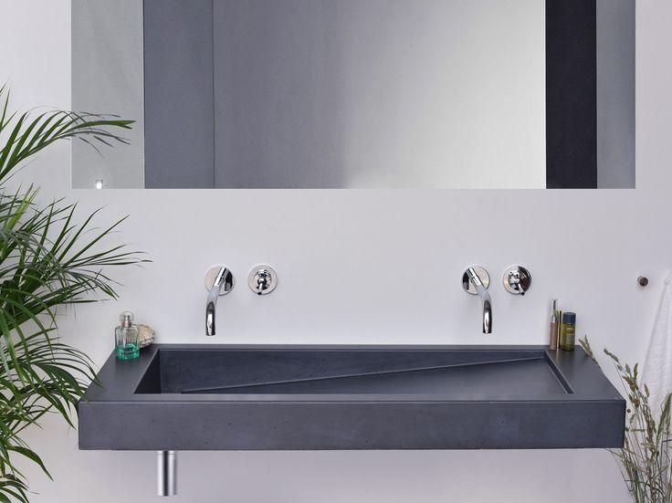 Double wall-mounted concrete washbasin SLANT 03 DOUBLE by Gravelli design Tomáš Vacek
