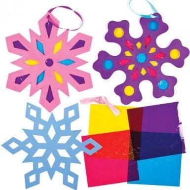 Decoratiesets van sneeuwvlokken met glas-in-loodeffect