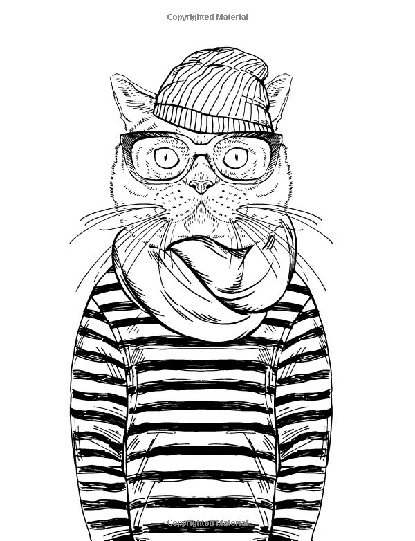 Cool cats colouring book elizabeth james adult for Coloring pages cool