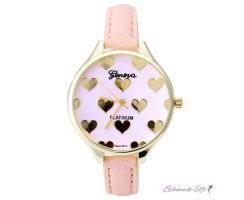 Damen Armbanduhr Herzen gelbgold PU Leder rosa