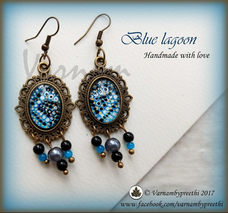 Some abstract handpainted dottilism and cabachon! Here we go :) Code name: Blue lagoon (Available) #handmadelove #varnamstyle #bluelagoon #varnambypreethi #cabochon #Earrings #jewlery #chennai