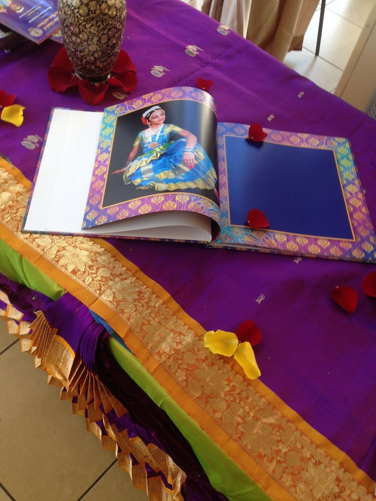 Guest signing book at the arangetram bharatanatyam for Decoration books