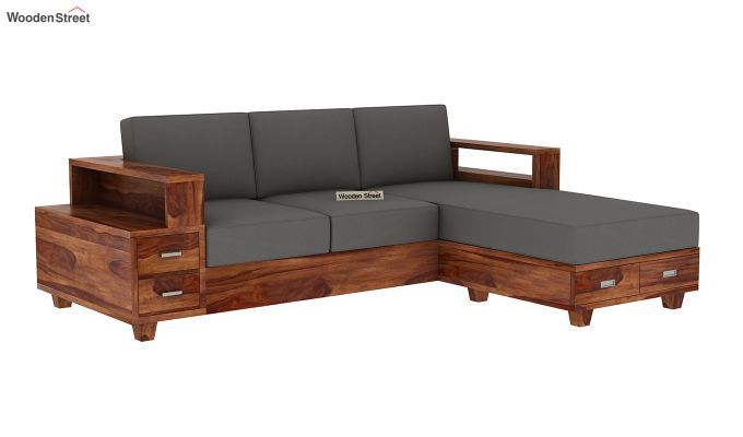 Buy Solace L Shaped Wooden Sofa Walnut Finish Online In India