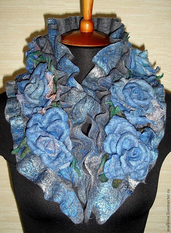 """Купить Валяный шарф воротник """"Синие дали"""".Серый синий. - тёмно-синий, цветочный"""