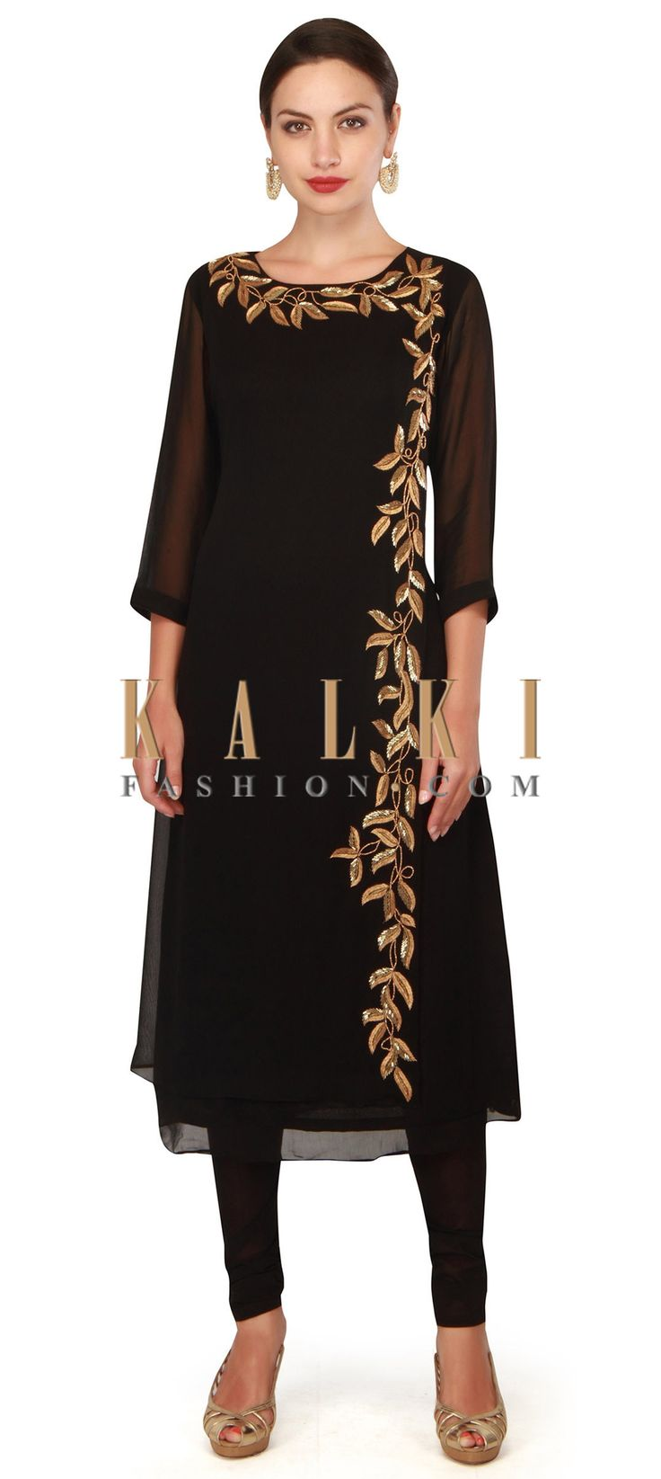 Buy Now Black straight suit adorn in kardana embroidery only on Kalki