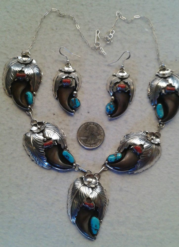 NAVAJO Elaine Sam Squash Blossom Necklace Earrings Turquoise Coral Sterling Claw