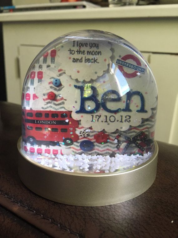 Personalised snow globe with London Theme/boy with name and date