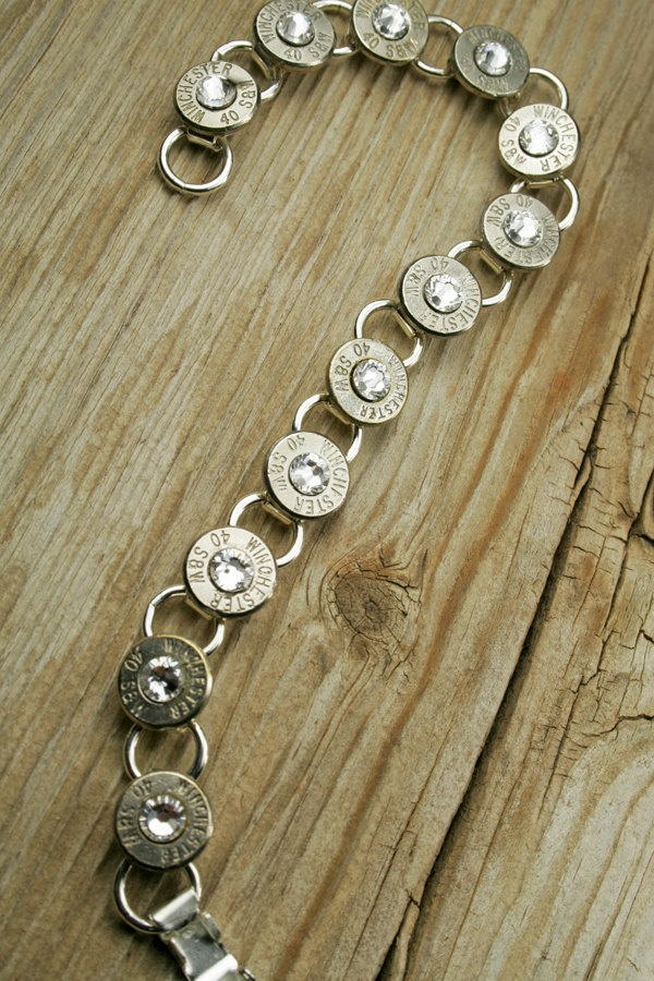 40 Caliber Nickel Bullet Bracelet with Swarovski Crystals. $59.95, via Etsy.