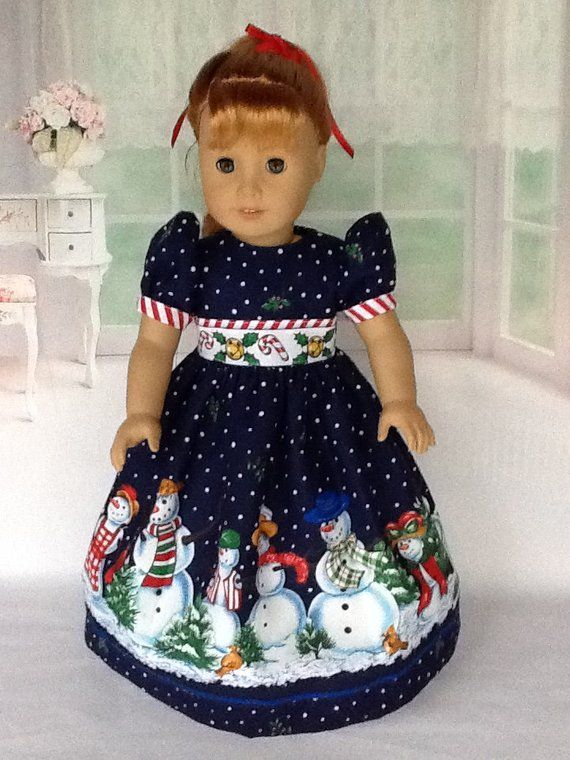 """Snowman Christmas Dress Fits 18/"""" American Girl Doll Clothes"""