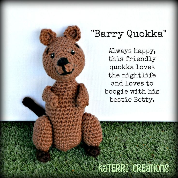 KaTerri Creations  Barry Quokka Made with cotton blend yarn and polyester toy filling.  16cm tall $30