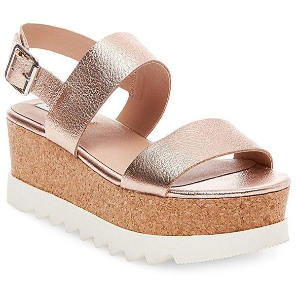 Steve Madden Krista Platform Sandals ($67) ❤ liked on Polyvore featuring shoes, sandals, rose gold, lace-up sandals, padded sandals, rose gold shoes, steve madden shoes and ankle tie sandals