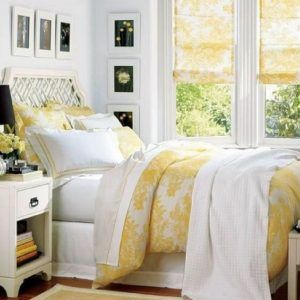 White And Yellow Bedroom Curtains