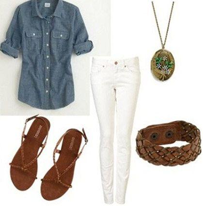 Chambray button-down + white jeans: Summer Jeans Outfits, White Skinny, Wraps Bracelets, Easy Sandals, Chambray Buttons Down, White Jeans Outfits, Denim Shirts, White Pants, Summer Outfits