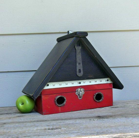 Vintage Red Metal Tool Box Birdhouse Repurposed by Milepost7,