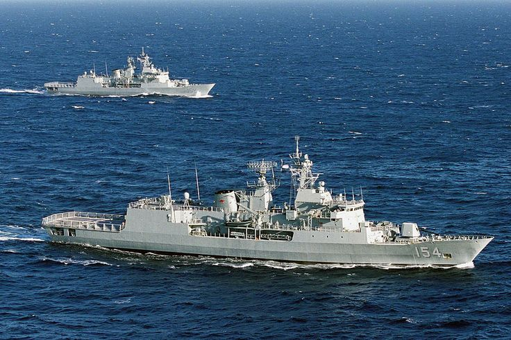 Royal Australian Navy Anzac class frigates HMAS Parrammatta & HMAS Warramunga pre ASMD upgrade.