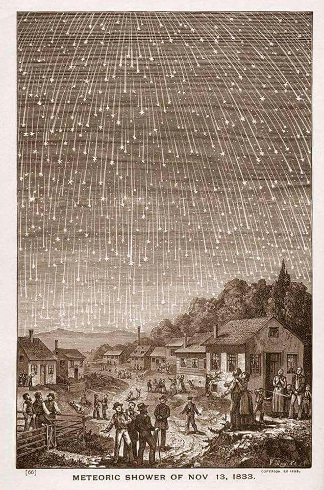 O evento da semana é o pico da chuva de meteoros Perseidas, de 12 para 13 de Agosto. Uma imagem histórica, a representação da chuva de meteoros dos Leonídeos em 1833.