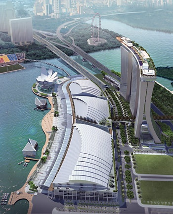 Marina Bay Sands with view of the Skypark, Singapore.  The most expensive standalone casino construction in the world.